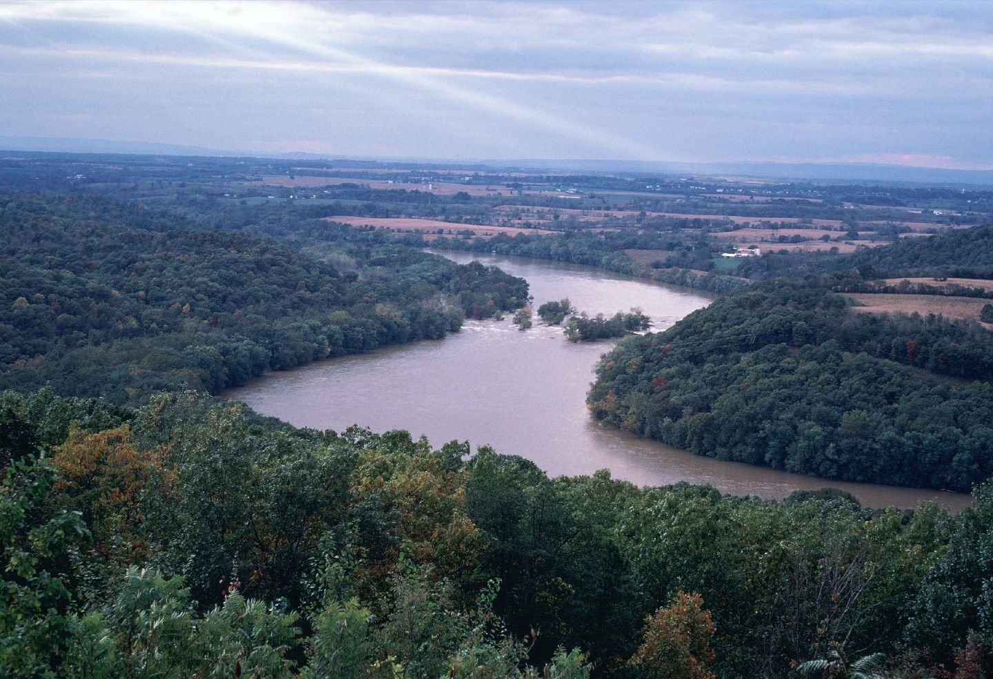 Aerial view of the Ohio River between Ohio and West Virginia
