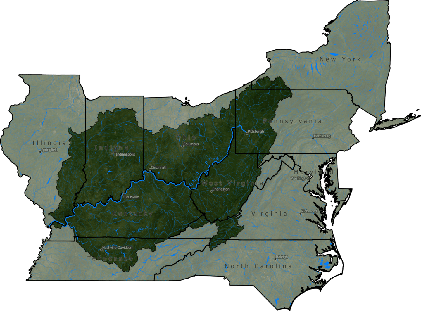 Map of the Ohio River Watershed